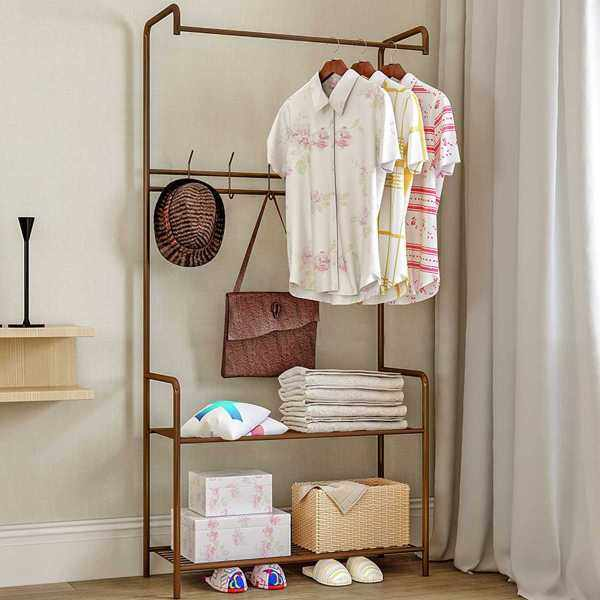3 Color Coat Rack Landing Clothing Holder Hanger Floor Standing Storage Shelf Clothes Hanger Rack Simple Style Bedroom Furniture