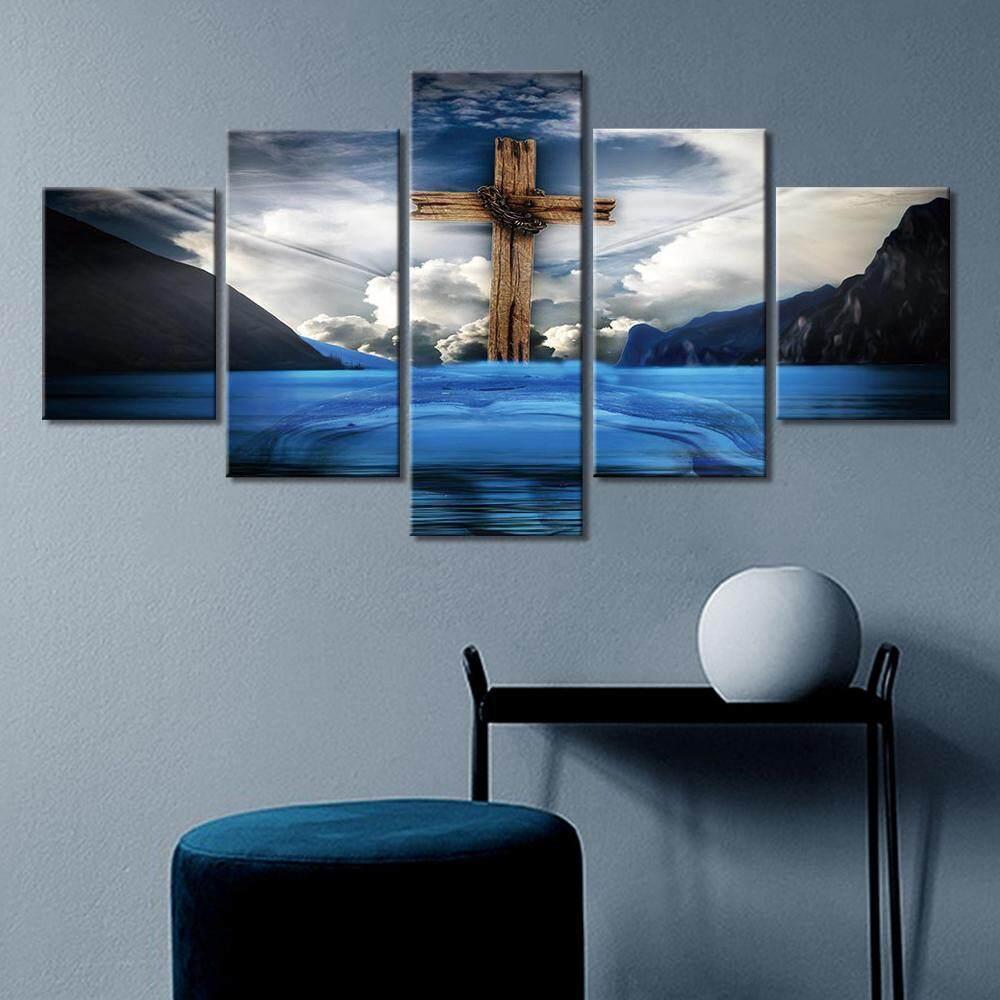 Bộ 5 Tranh Canvas Chúa Giêsu Qua Nghệ Thuật Treo Tường Hình Ngôi Nhà Hiện Đại Trang Trí Phòng Khách (Dán Không Khung) Giá Sốc Nên Mua