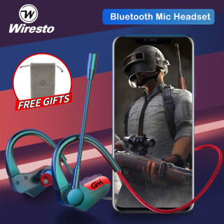 Wiresto Wireless Gaming Earphones Bluetooth V5.1 Earbuds Headphones Sport Headset HD Stereo No Latency Sweatproof Noise Cancelling with Detachable Mic for Gamer Pad Phone PUBG MBLL thumbnail