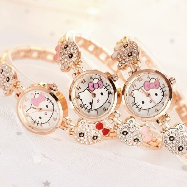 (Malaysian stock) Cute children kt cat watch girl bracelet steel band Women watch student Korean watch Malaysia