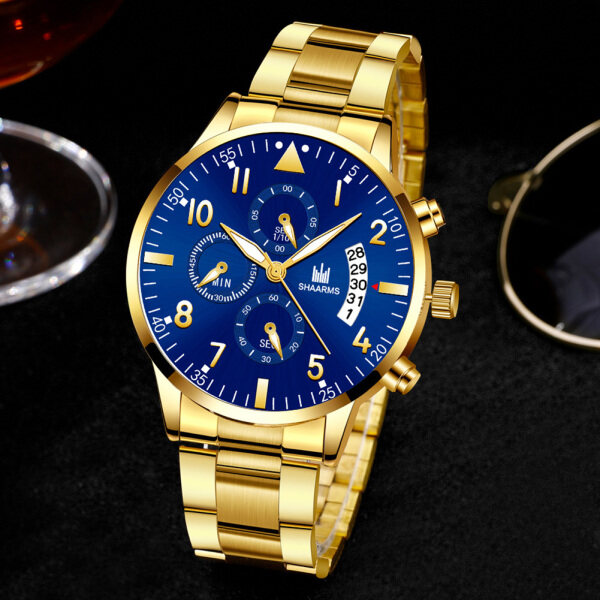 LF SHAARMS Fashion Mans Business Casual Watch Quartz Movement Steel Strap Simple Trendy Wristwatch with Calendar Malaysia