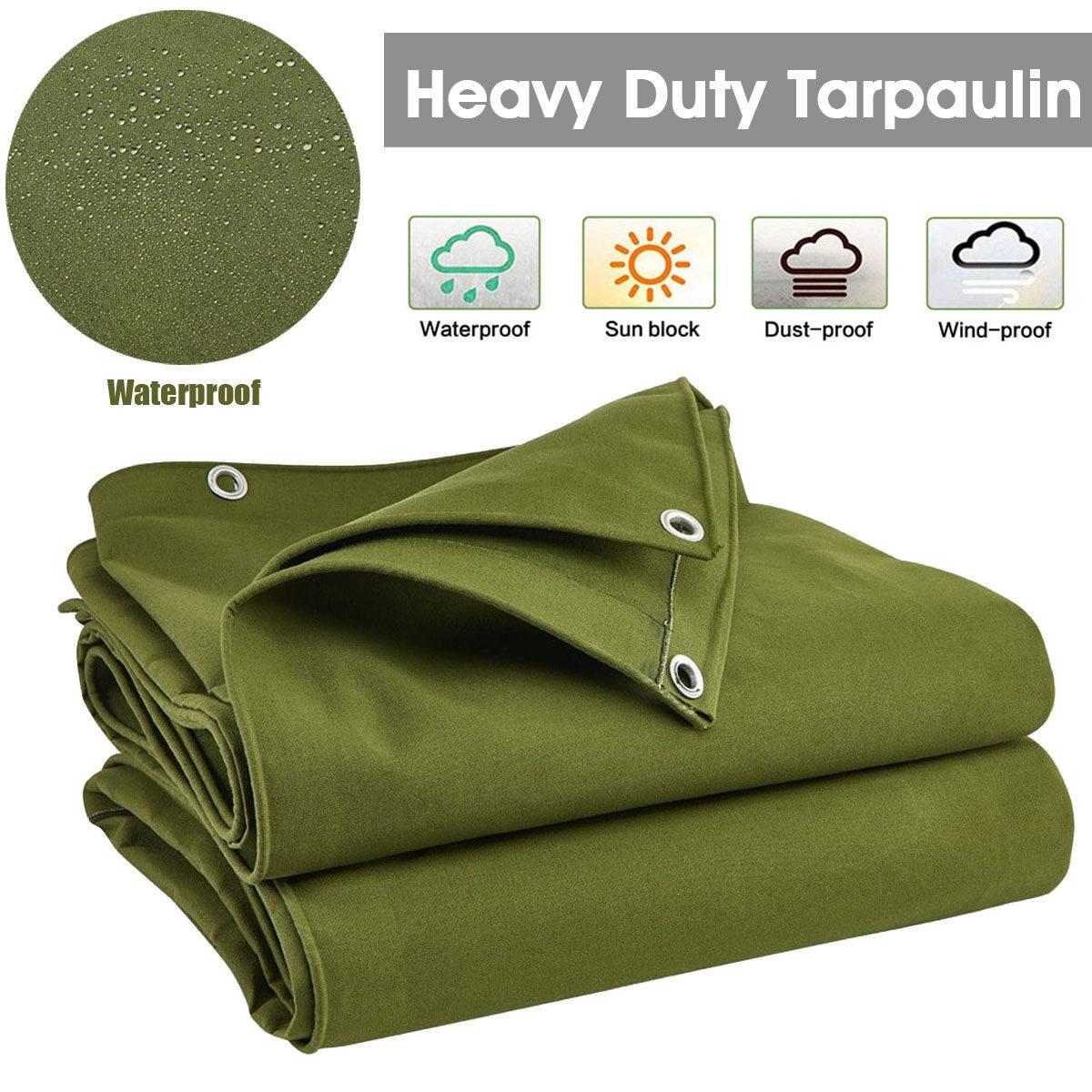 Army Green Heavy Duty Canvas Tarp Tarpaulin Sun Blocked Waterproof Dustproof Inner rubbers