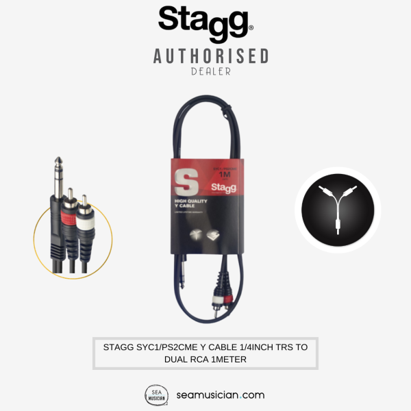 STAGG SYC1/PS2CME Y CABLE SPLITTER 1/4INCH TRS TO DUAL RCA 1METER (3 FT CABLE/ Y-CABLE/ PS-2CME) Malaysia