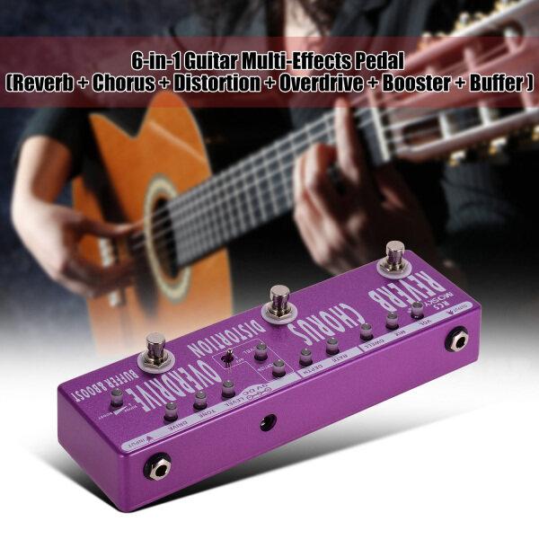 MOSKY Bàn Đạp Hồi Âm Đàn Guitar 6 Trong 1 RC5 + Hợp Xướng + Biến Dạng + Overdrive + Booster + Vỏ Kim Loại Đầy Đủ Đệm Với Bỏ Qua Thực Sự
