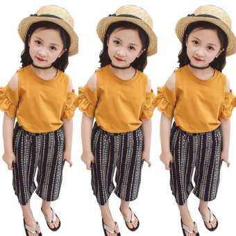 แฟชั่นเด็กสาวเสื้อฤดูร้อน T - เสื้อ + ลายกางเกงขาม้าชุดเสื้อผ้า-