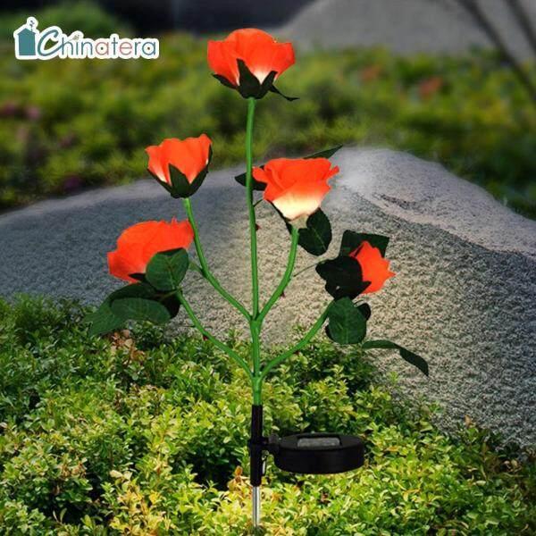 [Chinatera] Đèn Năng Lượng Mặt Trời 5 Bóng LED Đèn Bãi Cỏ Hoa Hồng Đèn Sân Vườn Ngoài Trời Chống Nước Đèn Cọc Cổ Tích Đồ Trang Trí Sân Vườn Nghệ Thuật Phong Cảnh