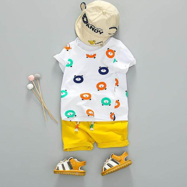 Summer Boys Cartoon Bear Print Pattern Tops Blouse T-Shirt+shorts Set Casual Short Sleeve Outfits Sets By Ropalia Store.