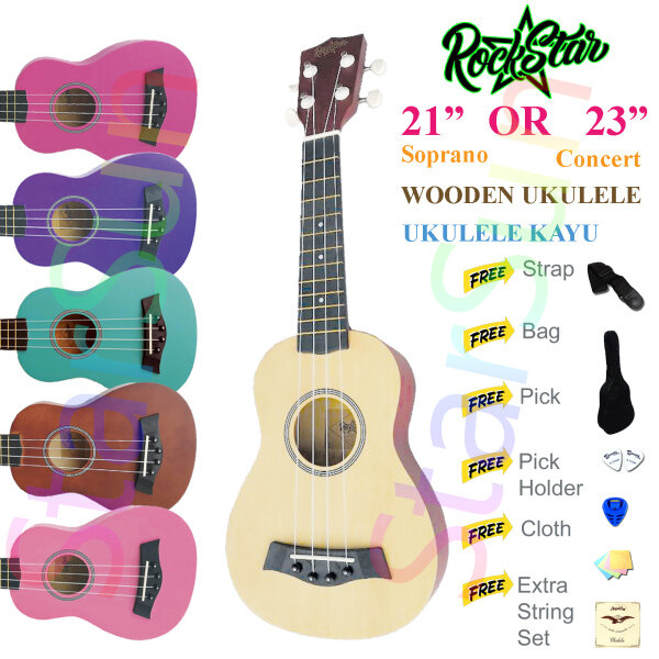 21-inch Color Concert Wooden Ukulele with Bag Malaysia