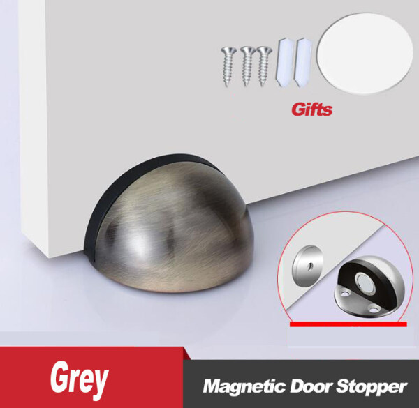 Half Moon Magnetic Door Stopper Stainless Steel Non Punching Floor Mounted