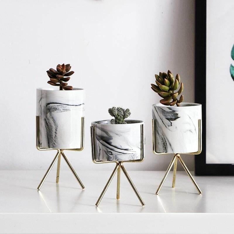 3pcs Nordic Minimalism Style Marble Pattern Golden Ceramics Iron Art Vase Tabletop Flower Pot Home Wedding Living Room Decoration
