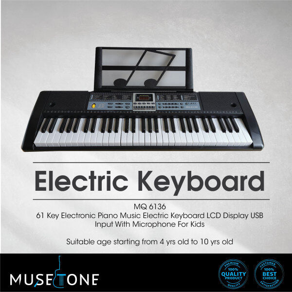 MQ 6136 (61 Keys) Digital Piano Electronic Keyboard + Headphone + Microphone + Music Book Rest for kids Malaysia