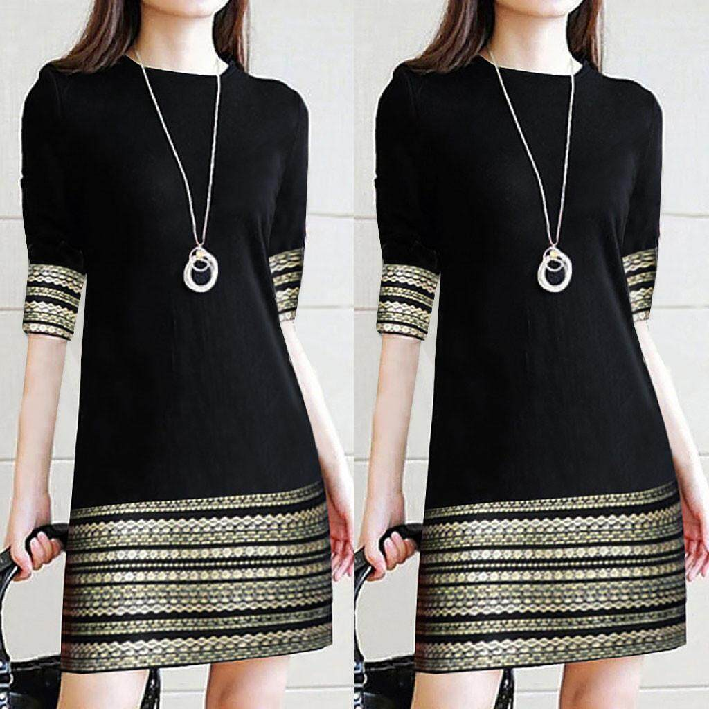 360734fc28fd2 Ulamore New Arrival Fashion Women's Casual Vintage Elegant Splice Middle  Sleeve Easy Mini Dress