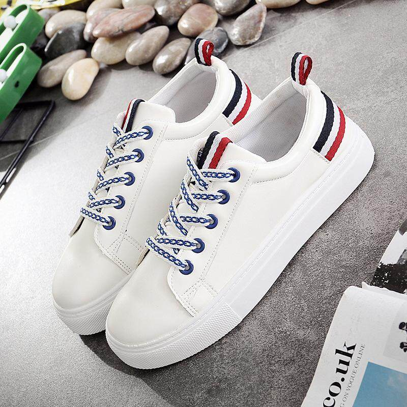 44cfa7c28d085 2018 Lace-Up White Shoes Women PU Leather Solid Color Casual Women Sneakers