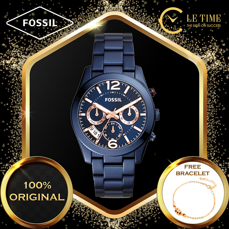 [Authentic *FREE BRACELET*] Fossil Perfect Boyfriend Multifunction Navy Blue Stainless Steel Women Ladies Watch Jam Tangan Wanita ES4093 Malaysia