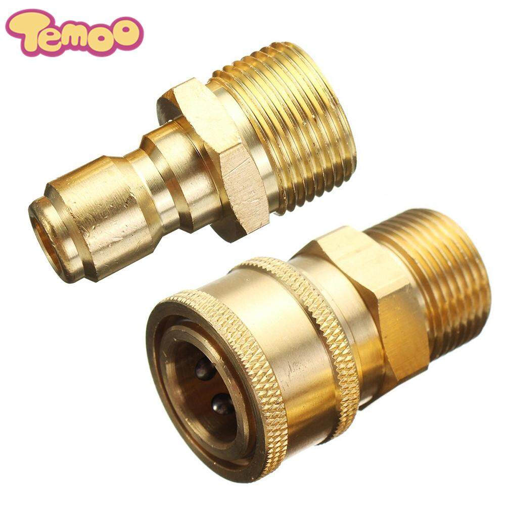 Temoo Yuero 1 Set Pressure Washer Quick Release 14.8mm 3/8  Male To M22 Male Fitting Coupling Quick Connector Coupler Adapter