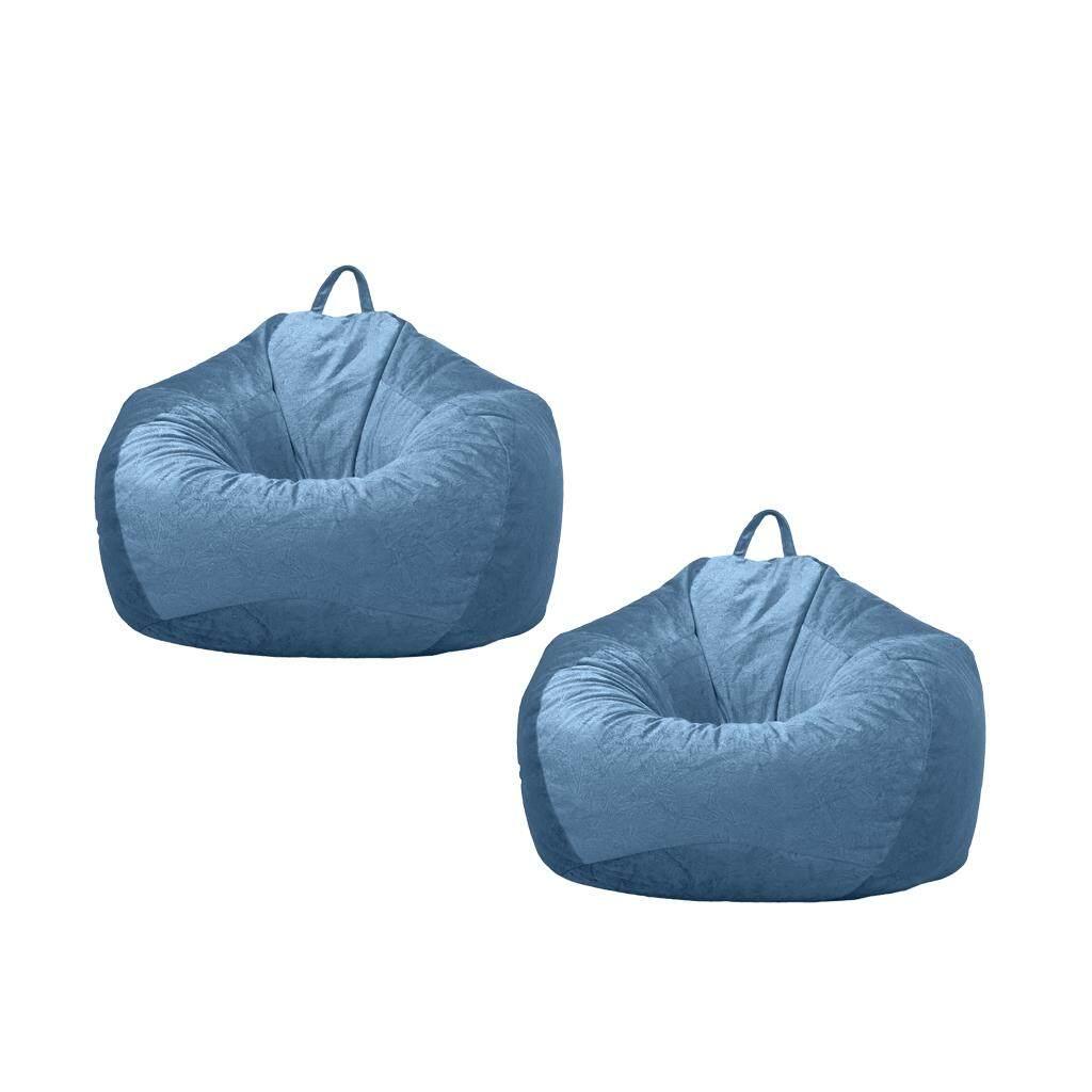 BolehDeals 2 Blue_2 Chairs Sofa Cover Velvet Lazy Beanbag Cover No Filler for Bedroom