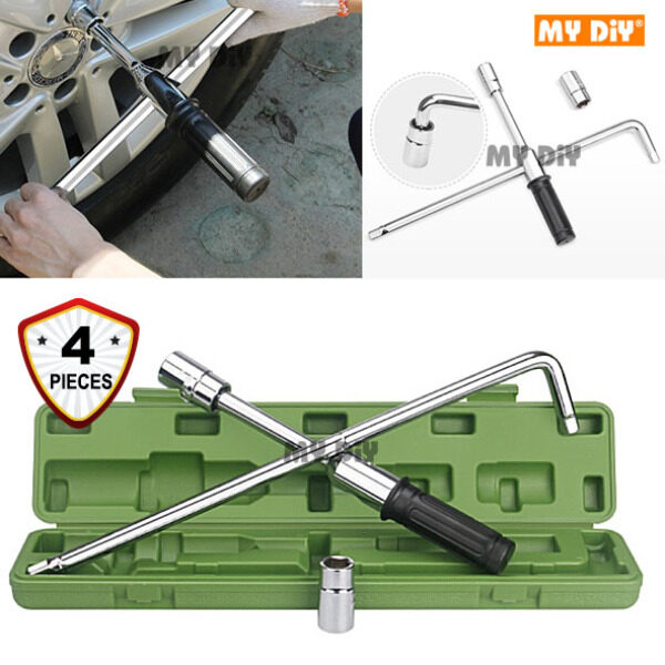 MYDIYSDNBHD - HEAVY DUTY 4PCS EXTENSION TYRE OPENER WRENCH TOOL WITH L HANDLE 2 SOCKET 17MM 19MM 21MM 23MM SPEED HANDLE TYRE OPENER CROSS WRENCH TYRE REMOVER TOOL TIRE OPENER WRENCH
