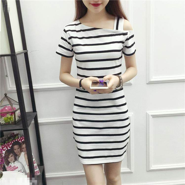1544a1bf729 Hot sale New Summer Short sleeved shoulder dress slim long stripe T-shirt  sexy Strap