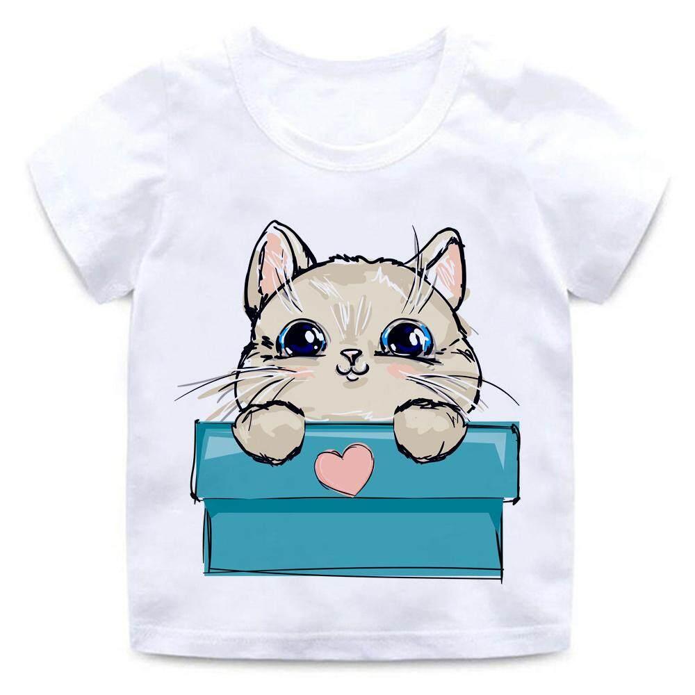 4673015f7a0f Cute Cat Animal Love Heart Shape Funny Children s Cartoon 3D Print Tee Tops Boy  Girls Summer
