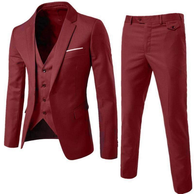 57442f8de826 Men's suit set three-piece suit large size business slim professional wear  groom groomsmen wedding