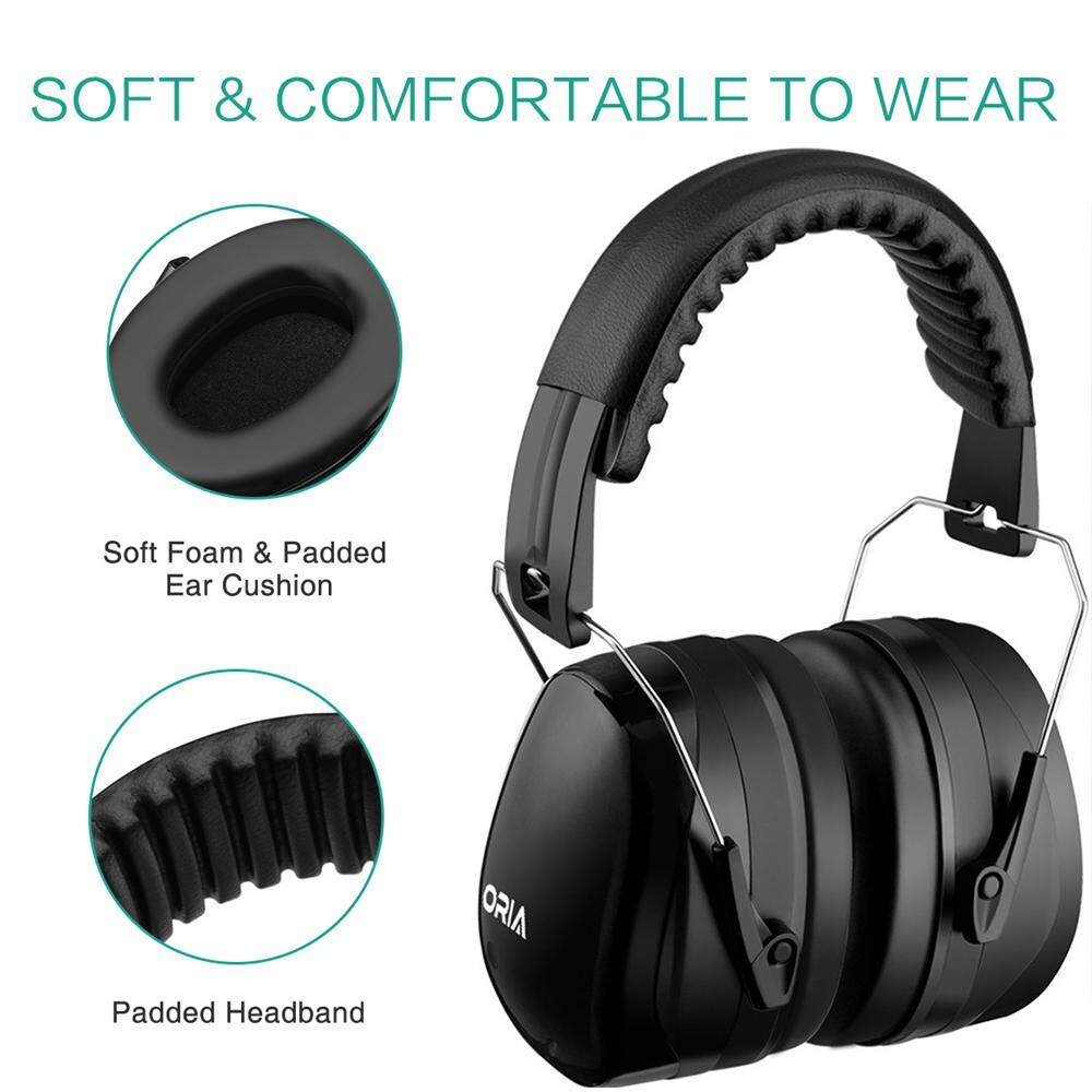 ORIA Safety Ear Muffs Hearing Protection Ear Muffs Folding-Padded Ear Cup Adjustable Shooting Ear Muffs NRR 30dB Professional Ear Defenders for Shooting Working Studying Noisy Environment