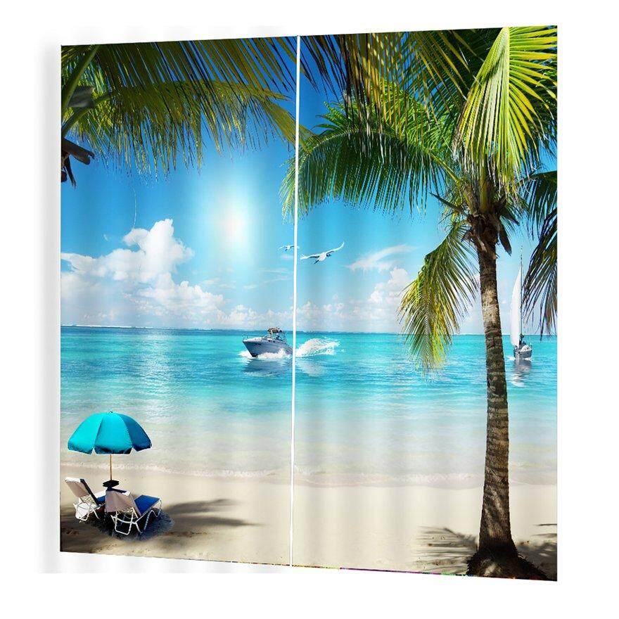 UINN Sand beach Prints Curtains Room 3d Curtain Window BJQ-1280(13) 140*100cm Trendy Living Room Bedroom Blackout