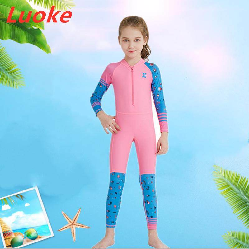 eaf8fee308 Luoke Swimming Suit for Kids Children's Wetsuit Outdoor Long-sleeved One-piece  Swimsuit Sun