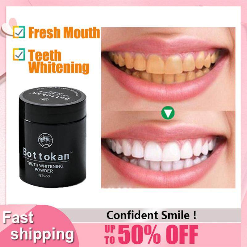 Bottokan Teeth Whitening Powder Activated Charcoal Powder Oral Care Teeth Stain Remover Hygiene Dental Care Natural Teeth Cleaning Bleaching Perfect Smile Health Effective 45g Pemutih Gigi Murah Charcoal Bubuk By Beauty Lodge.