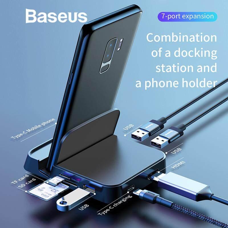 Baseus Type - C ฮับโทรศัพท์ Usb หลากหลาย C แท่นวางมือถือ Usb ประเภท C Hub Hdmi Dock พร้อมอะแดปเตอร์ไฟ By Just Only One.