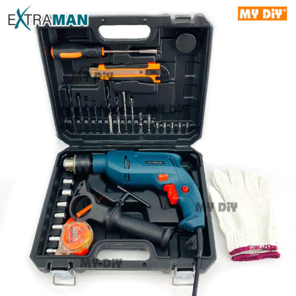 MYDIYHOMEDEPOT - EXTRAMAN 700W Impact Drill Tool Kit Set 13mm 700w With Accessories