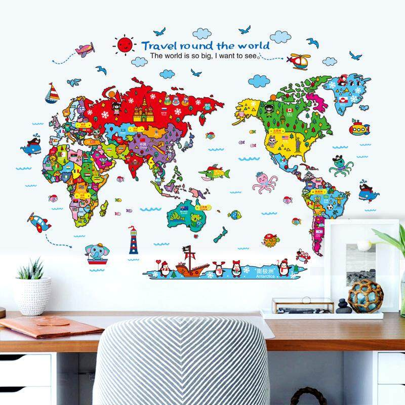 Baby Travel Around The World Cartoon Animal Map 3D Vinyl Wall Stickers Kids Room Nursery Decoration Puzzle Wallpaper 60*90cm