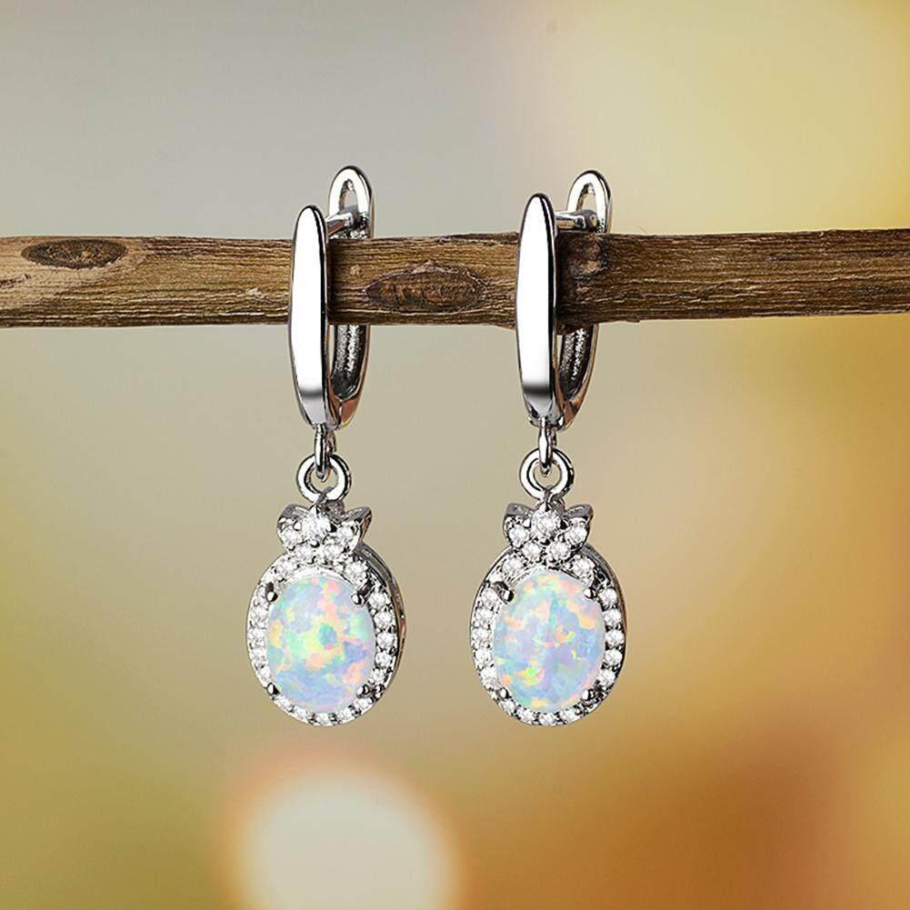 Bluelans®fashion Faux Berlian Tiruan Opal Wanita Jepit Telinga Drop Anting-Anting Menjuntai Perhiasan Hadiah By Bluelans.