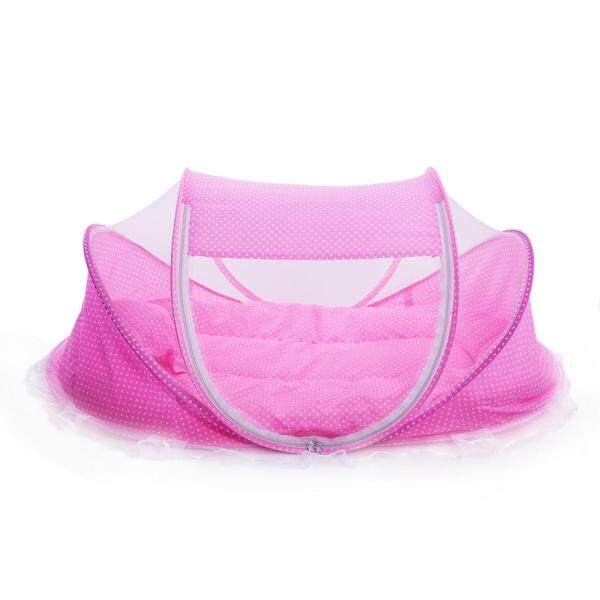 [Ji Nan De Shan Jiao Yu Zi Xun] Baby Set of 4 Baby Mosquito Nets Rotating Folding Anti-mosquito Sealed Mosquito Net (premium version) pink