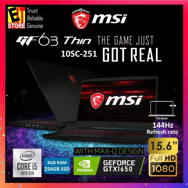 MSI GF63 THIN 10SC-251 GAMING LAPTOP (I5-10500H/8GB/256GB SSD/15.6 FHD 144Hz/4GB GTX1650 MAXQ/W10/2YRS) + BACKPACK Malaysia