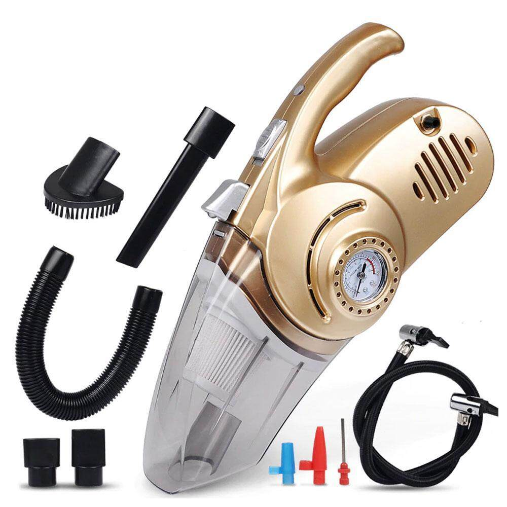 OrzBuy 4 in 1 Portable Car Handheld Auto Vacuum Cleaner, 12V DC Car Vacuum Cleaner Cordless Wireless for Wet & Dry Surface, Tyre Inflator, Pressure Gauge & LED Light