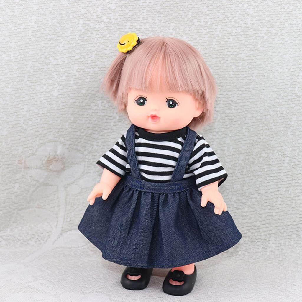 Magideal Cute Striped Short Sleeve Denim Skirt For 25cm Mellchan Baby Doll Girl Gift By Magideal.