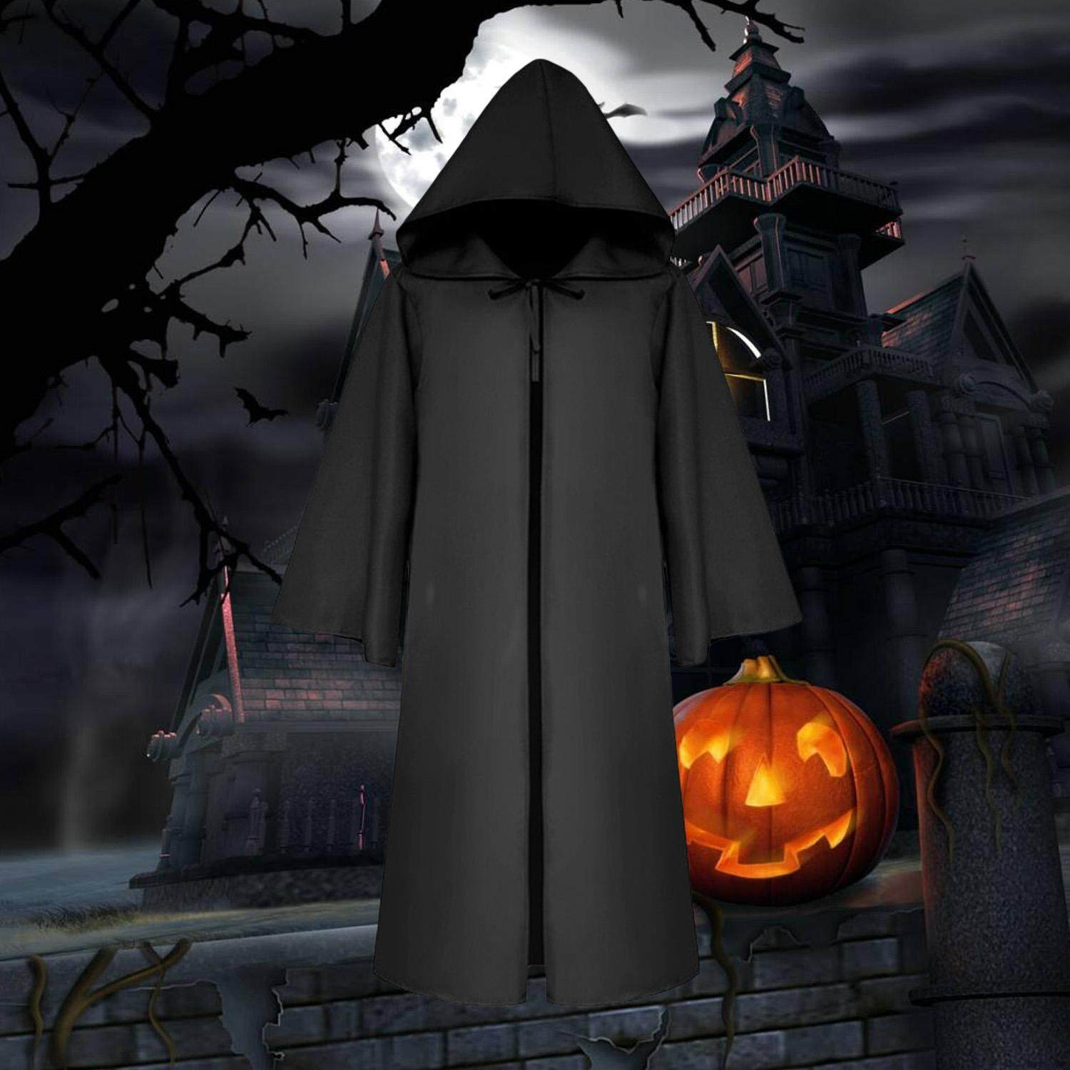 Devil Vampire Witch Wizard Cloak Cape Hoodies Robe for Adults Men Women Halloween Masquerade Cosplay Stage Performance Party Costumes
