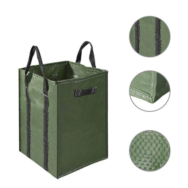48 Gallons Garden Bag Extra Large Reusable Leaf Bags 4 Handles Comparative Collapsible Gardening Containers for Lawn and Yard Waste