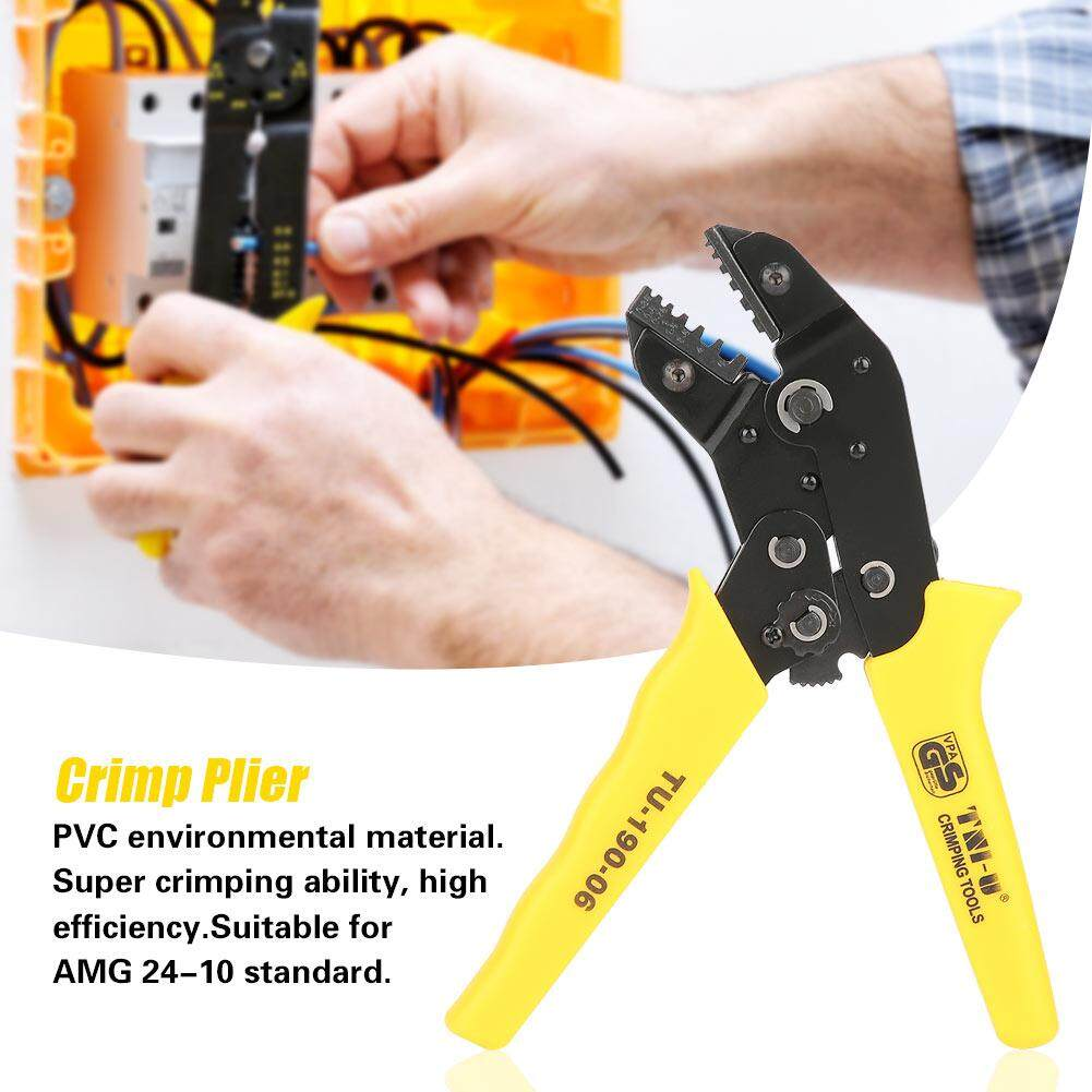 High-carbon Steel Euro Terminals Crimp Plier Hand Cable Stripper Crimping Tool AWG 24-10