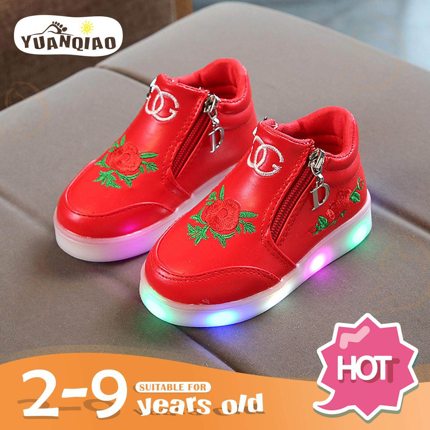 eb5a37dfbaa YUANQIAO Children Shoes Girls Led Light Shoes Embroidered Cartoon Led  Luminous Soft Bottom Kids Shoes 2 3 4 5 6 7 8 9 10 Years Old