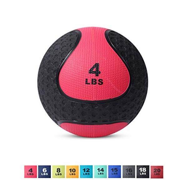 Day 1 Fitness Medicine Exercise Ball With Dual Texture For Superior Grip 4 Pounds - Fitness Balls For Plyometrics, Workouts - Improves Balance, Flexibility, Coordination By Hello Commerce