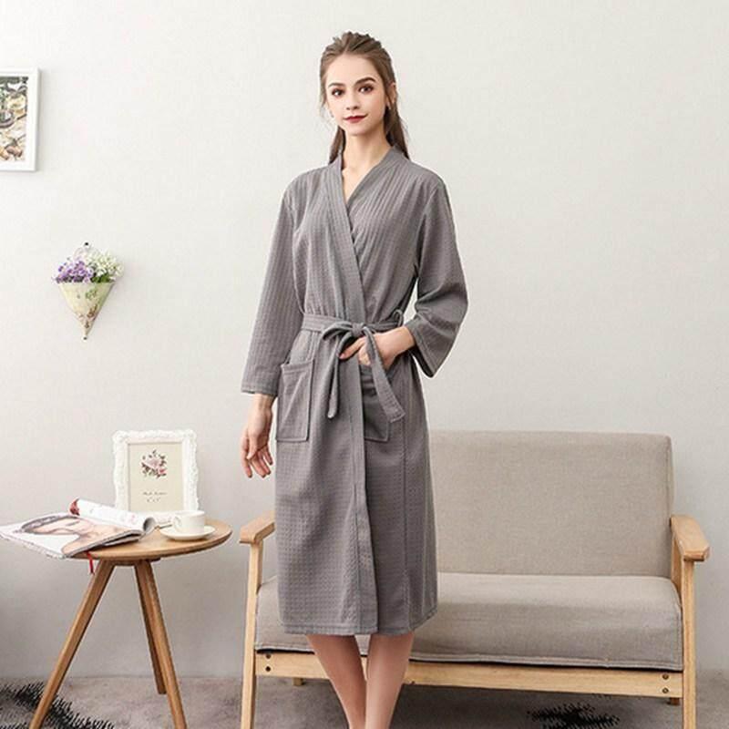 Mùa hè Bánh Quế Áo Choàng Tắm Cao Cấp Nam Nữ Hút Nước Kimono Mỏng Mềm Váy Ngủ Plus Kích Thước Tắm Spa Người Yêu Áo Dây