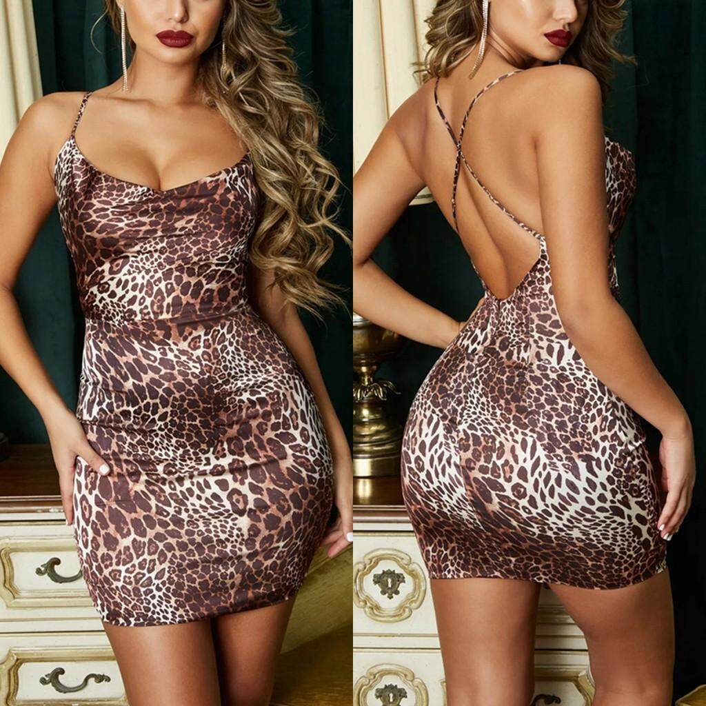 d4d0735ae89 Guo Sexy Women Leopard Print Sling Evening Party Cocktail Bodycon Dress  Backless