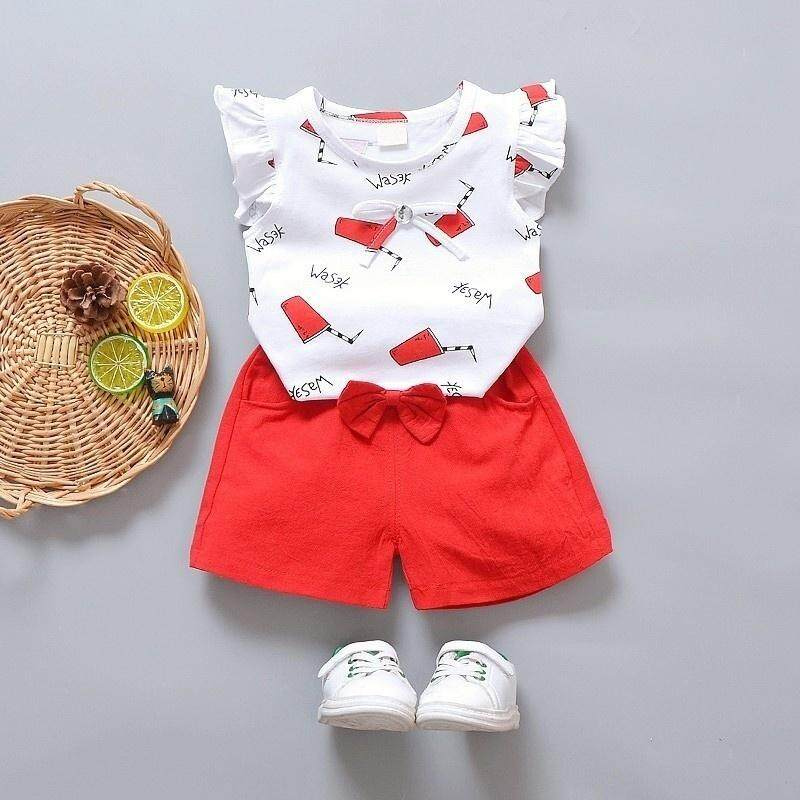 47a3dde6c9e kids Girl clothes Summer set Toddler Kids Baby Girls Outfits Fly Sleeves T-shirt  Tops