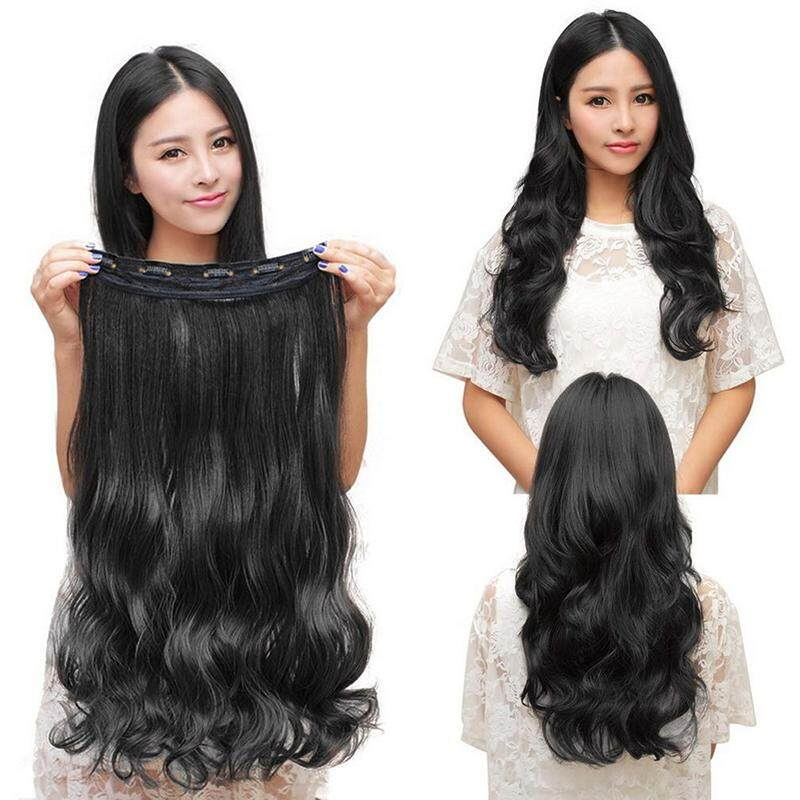 Natural Black Women Fashion Long Wig Stylish Curl Wavy Clip-on Extension  Hair Wig Hair dfb6e85b54