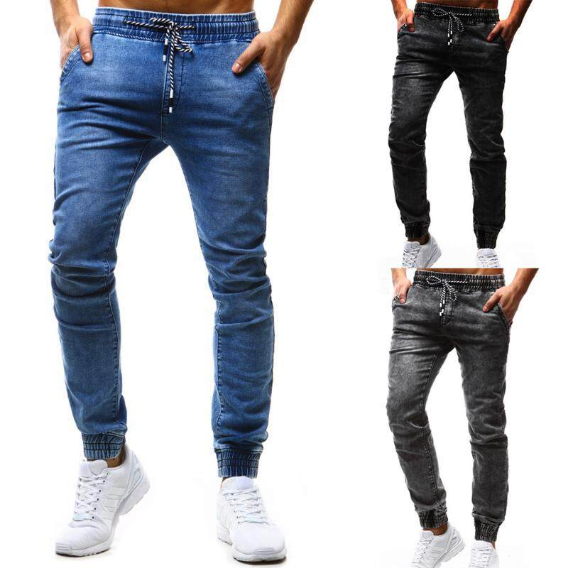 2a67004e463 Jeans for Men Elastic waist Leisure Slim Fit Denim Blue Men Jeans Pants  Fashions Casual Pants