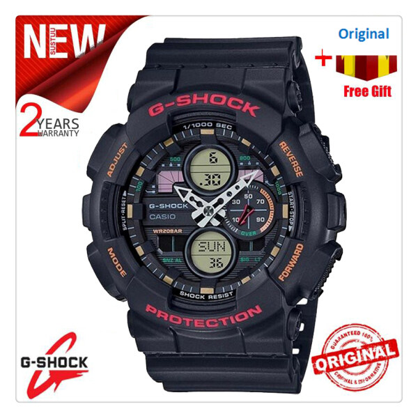Original G Shock GA140 Men Sport Watch Dual Time Display 200M Water Resistant Shockproof and Waterproof World Time LED Auto Light Sports Wrist Watches with 2 Year Warranty GA-140-1A4DR (Free Shipping) Malaysia