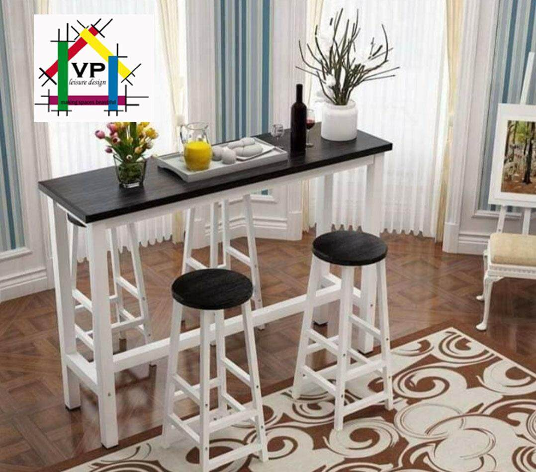 Woltu Round White Dining Table With 2 Chairs Set Small Coffee Table Chair Set Modern Leisure