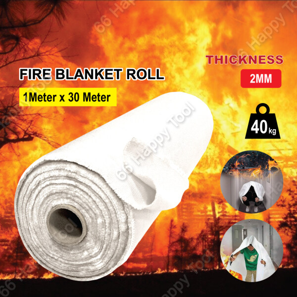 Safety Fire Blanket Rolls 1mx30m Fiberglass Fabric 2mm Thickness White Blanket Fireproof High Temperature Resistance