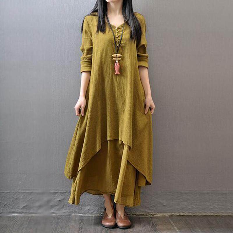 196e15e961 Dailynews Maternity Boho Women Long Sleeve Cotton Linen Beach Long Maxi  Dress